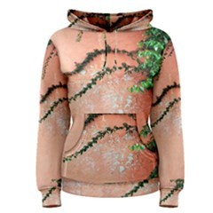 Background Stone Wall Pink Tree Women s Pullover Hoodie