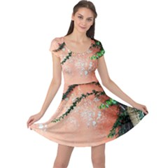 Background Stone Wall Pink Tree Cap Sleeve Dresses
