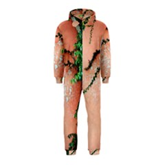 Background Stone Wall Pink Tree Hooded Jumpsuit (kids)
