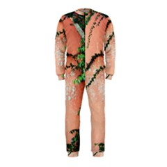 Background Stone Wall Pink Tree Onepiece Jumpsuit (kids)