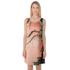 Background Stone Wall Pink Tree Sleeveless Satin Nightdress