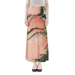 Background Stone Wall Pink Tree Maxi Skirts