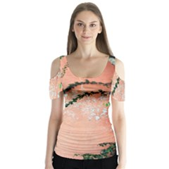 Background Stone Wall Pink Tree Butterfly Sleeve Cutout Tee