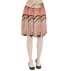 Background Stone Wall Pink Tree Pleated Skirt