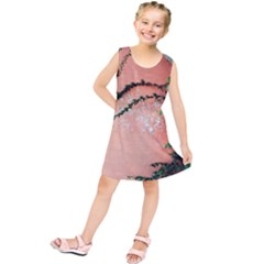 Background Stone Wall Pink Tree Kids  Tunic Dress