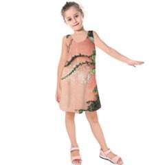 Background Stone Wall Pink Tree Kids  Sleeveless Dress