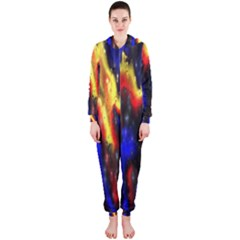Banner Header Plasma Fractal Hooded Jumpsuit (ladies)