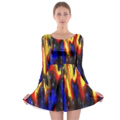 Banner Header Plasma Fractal Long Sleeve Skater Dress