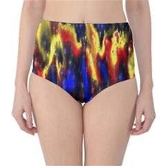 Banner Header Plasma Fractal High-Waist Bikini Bottoms