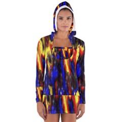 Banner Header Plasma Fractal Women s Long Sleeve Hooded T-shirt