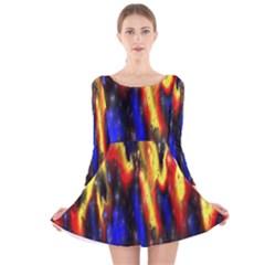 Banner Header Plasma Fractal Long Sleeve Velvet Skater Dress
