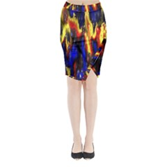 Banner Header Plasma Fractal Midi Wrap Pencil Skirt