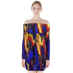 Banner Header Plasma Fractal Long Sleeve Off Shoulder Dress