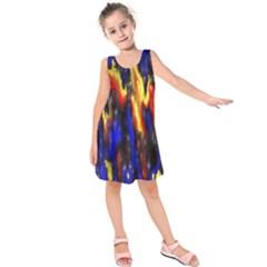 Banner Header Plasma Fractal Kids  Sleeveless Dress