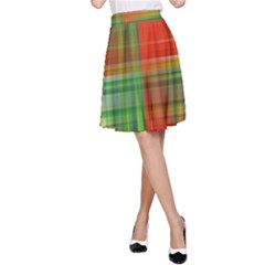 Background Texture Structure Green A Line Skirt
