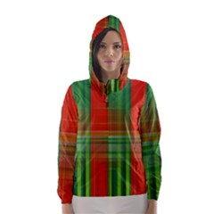 Background Texture Structure Green Hooded Wind Breaker (Women)