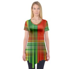 Background Texture Structure Green Short Sleeve Tunic