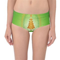 Beautiful Christmas Tree Design Mid-Waist Bikini Bottoms