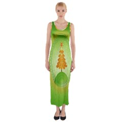 Beautiful Christmas Tree Design Fitted Maxi Dress
