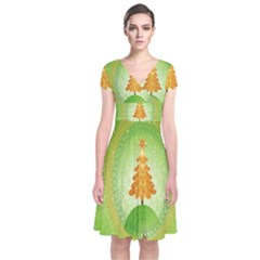Beautiful Christmas Tree Design Short Sleeve Front Wrap Dress