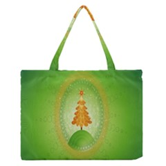 Beautiful Christmas Tree Design Medium Zipper Tote Bag