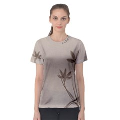Background Vintage Drawing Sepia Women s Sport Mesh Tee
