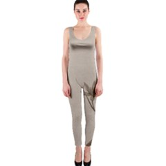Background Vintage Drawing Sepia Onepiece Catsuit
