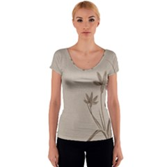 Background Vintage Drawing Sepia Women s V-Neck Cap Sleeve Top