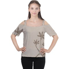 Background Vintage Drawing Sepia Women s Cutout Shoulder Tee