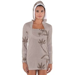 Background Vintage Drawing Sepia Women s Long Sleeve Hooded T-shirt