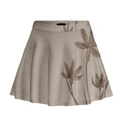 Background Vintage Drawing Sepia Mini Flare Skirt