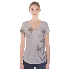 Background Vintage Drawing Sepia Short Sleeve Front Detail Top