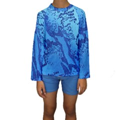Background Tissu Fleur Bleu Kids  Long Sleeve Swimwear