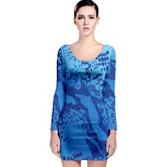 Background Tissu Fleur Bleu Long Sleeve Bodycon Dress