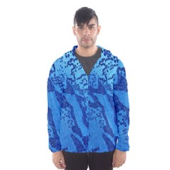 Background Tissu Fleur Bleu Hooded Wind Breaker (Men)
