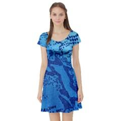 Background Tissu Fleur Bleu Short Sleeve Skater Dress