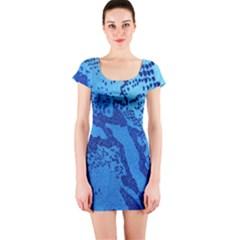 Background Tissu Fleur Bleu Short Sleeve Bodycon Dress