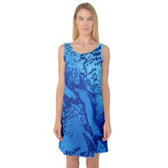 Background Tissu Fleur Bleu Sleeveless Satin Nightdress