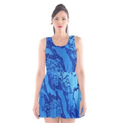 Background Tissu Fleur Bleu Scoop Neck Skater Dress