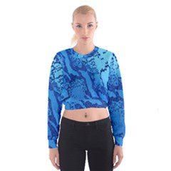 Background Tissu Fleur Bleu Women s Cropped Sweatshirt