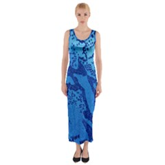 Background Tissu Fleur Bleu Fitted Maxi Dress