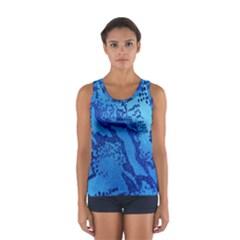 Background Tissu Fleur Bleu Women s Sport Tank Top