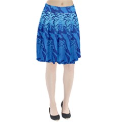 Background Tissu Fleur Bleu Pleated Skirt