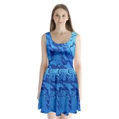 Background Tissu Fleur Bleu Split Back Mini Dress