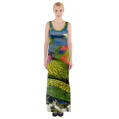 Beautifull Parrots Bird Maxi Thigh Split Dress
