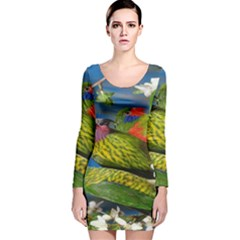 Beautifull Parrots Bird Long Sleeve Velvet Bodycon Dress