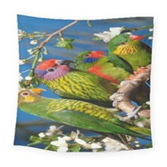 Beautifull Parrots Bird Square Tapestry (large)