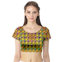Background Tile Kaleidoscope Short Sleeve Crop Top (Tight Fit)