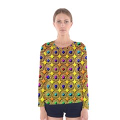 Background Tile Kaleidoscope Women s Long Sleeve Tee