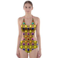 Background Tile Kaleidoscope Cut Out One Piece Swimsuit